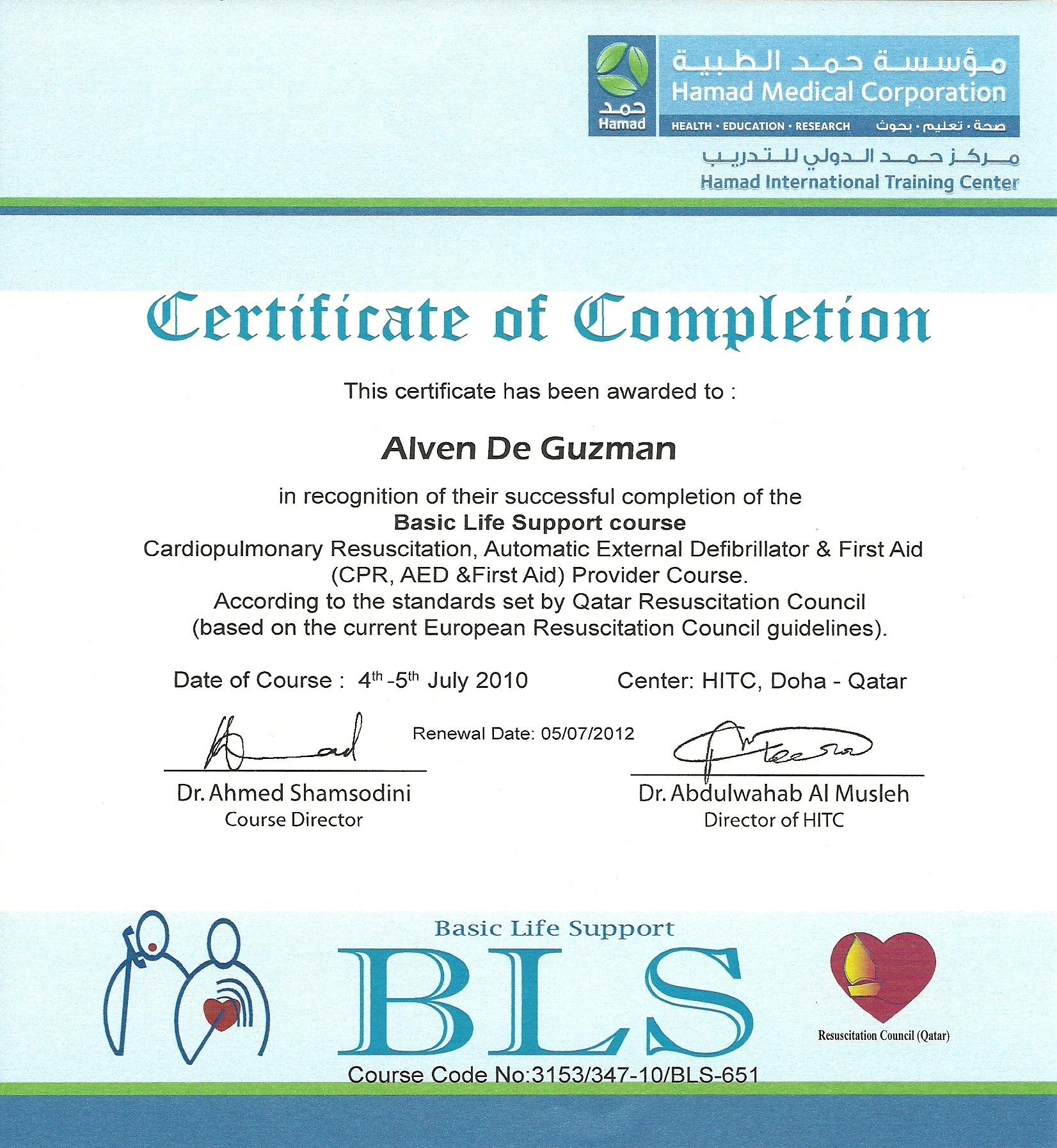 Alven de guzman bayt basic life support course certificate xflitez Images