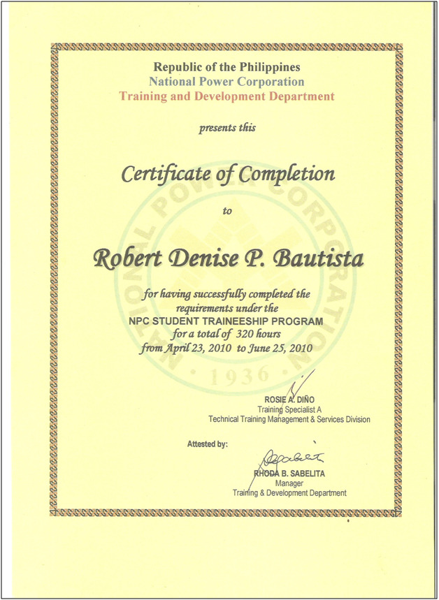 Sample certificate completion job training gallery certificate sample certificate job training choice image certificate design sample certificate of completion for on the job yelopaper Image collections