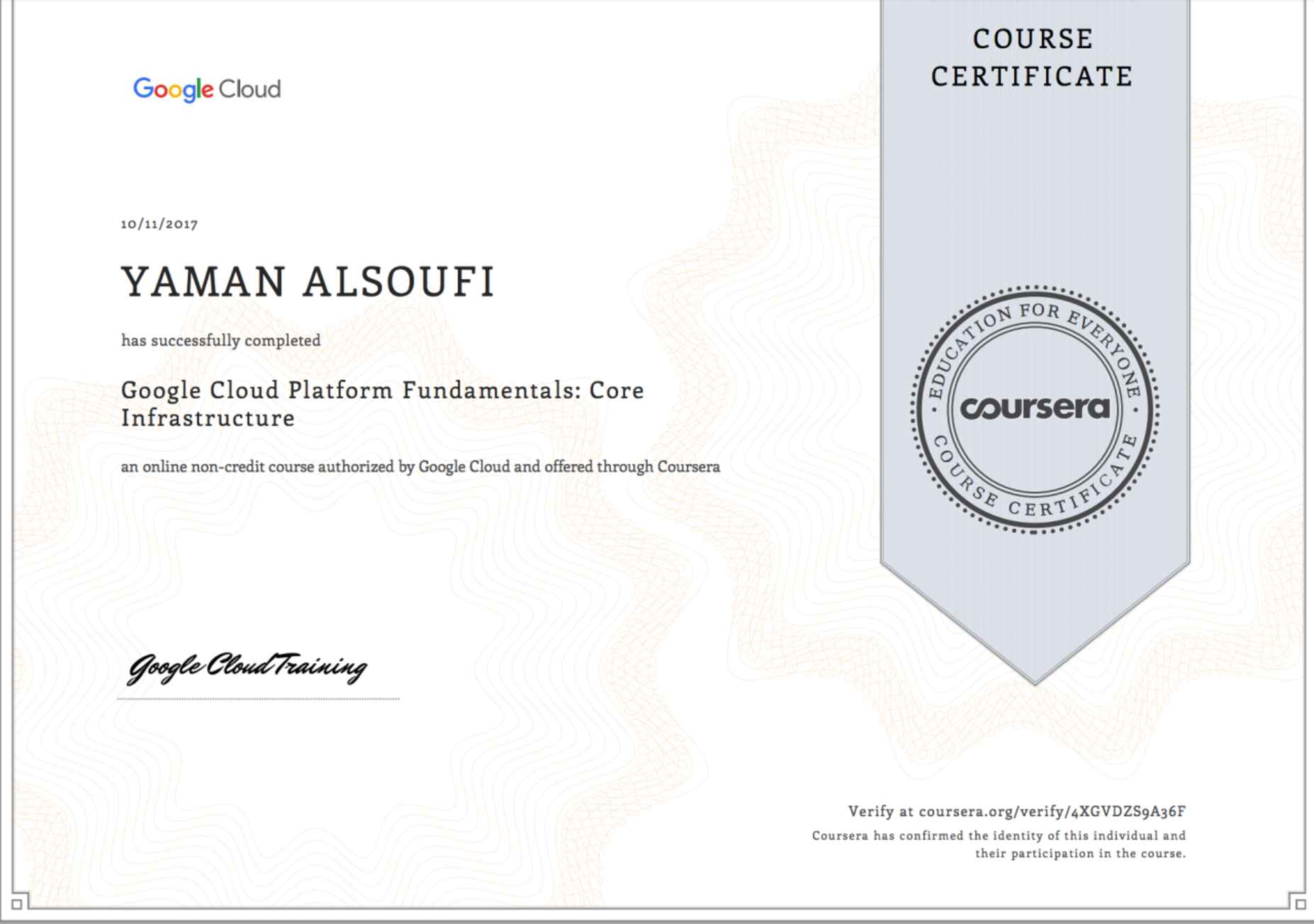 Yaman alsoufi bayt google cloud platform fundamentals core infrastructure certificate xflitez Gallery