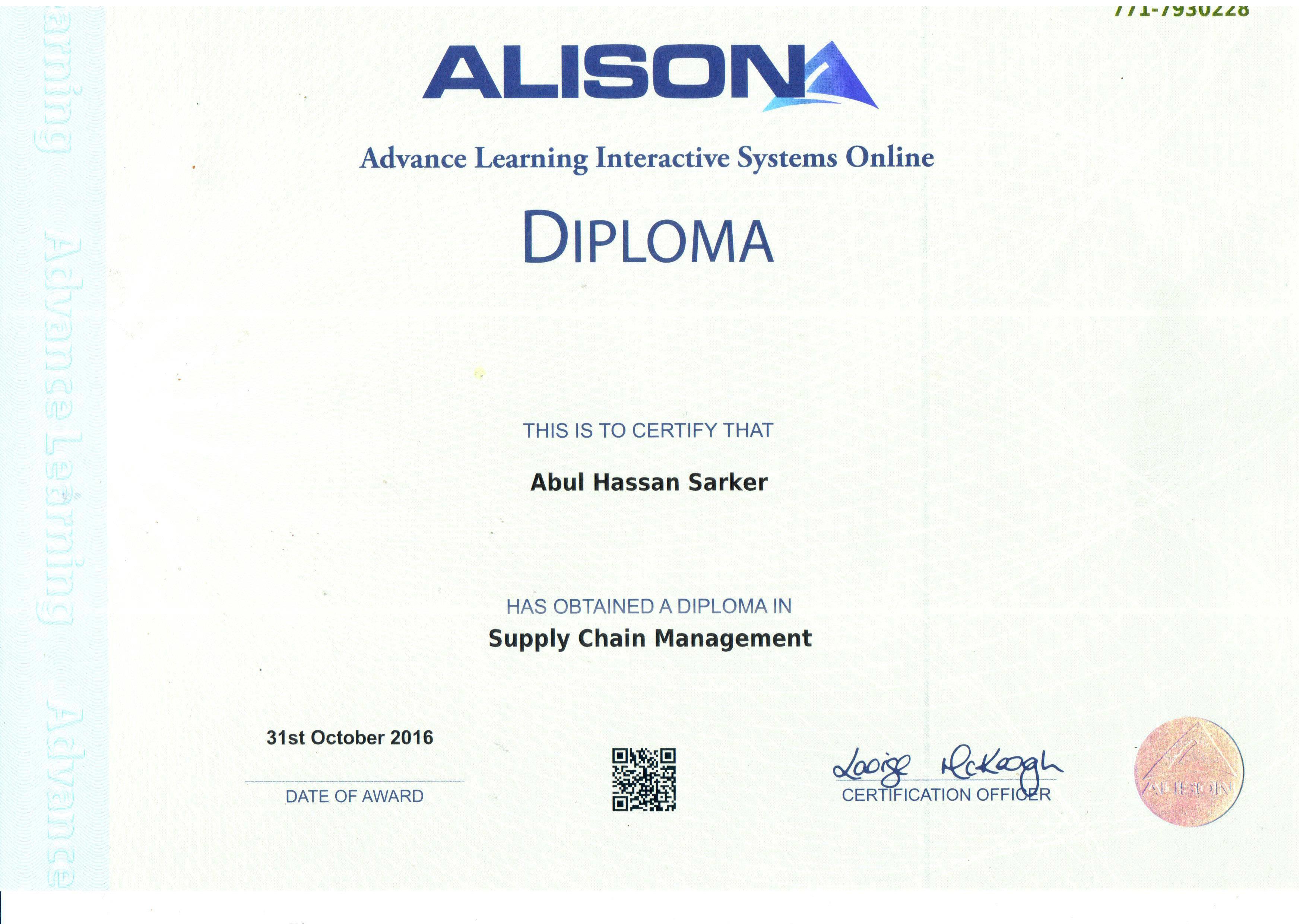 Alison Diploma Certificate