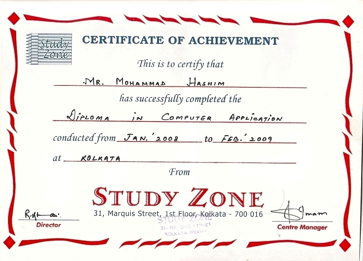Mohammad hashim bayt diploma in computer application certificate xflitez Image collections