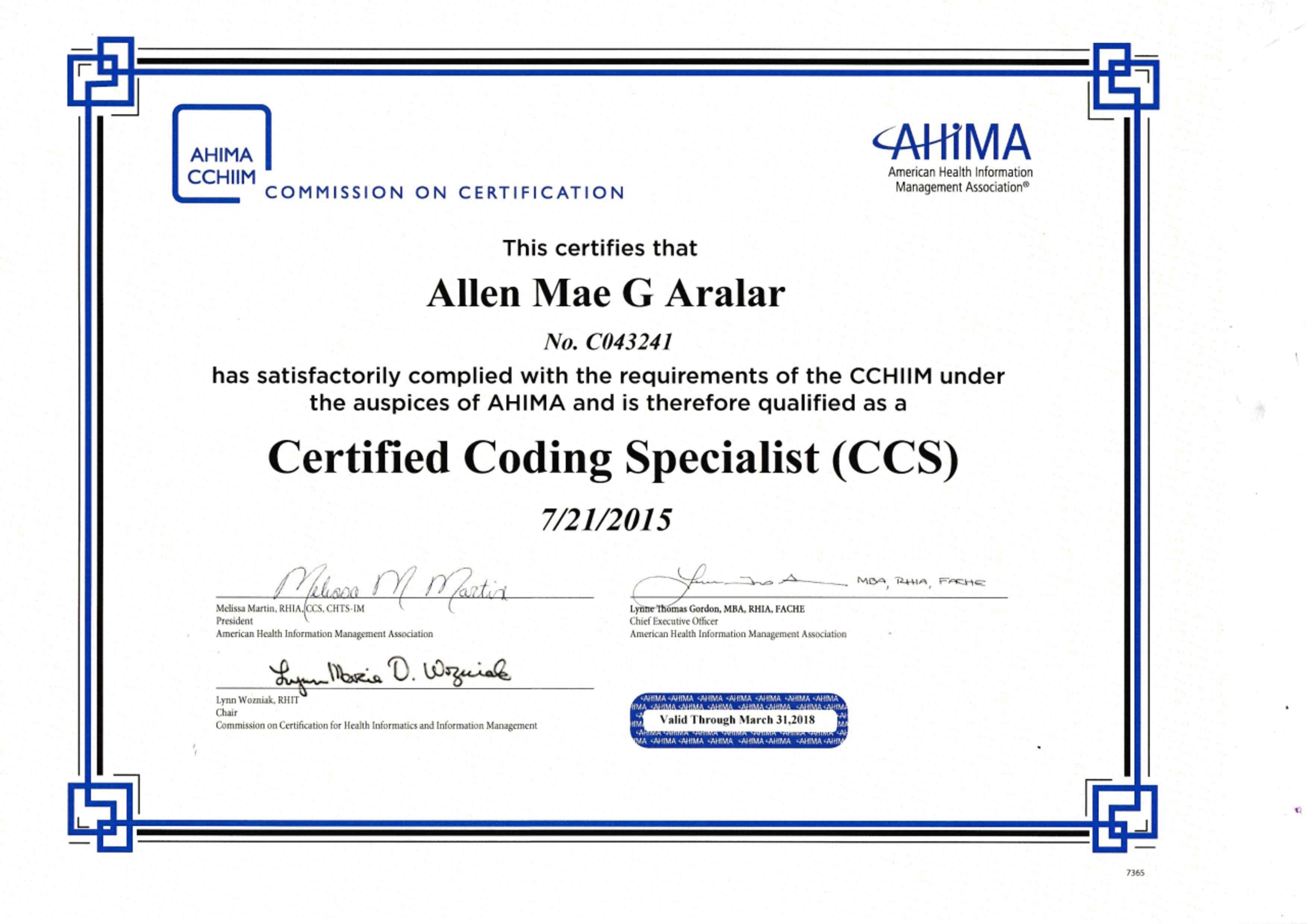 Allen mae aralar bayt certified coding specialist ccs certificate xflitez Choice Image