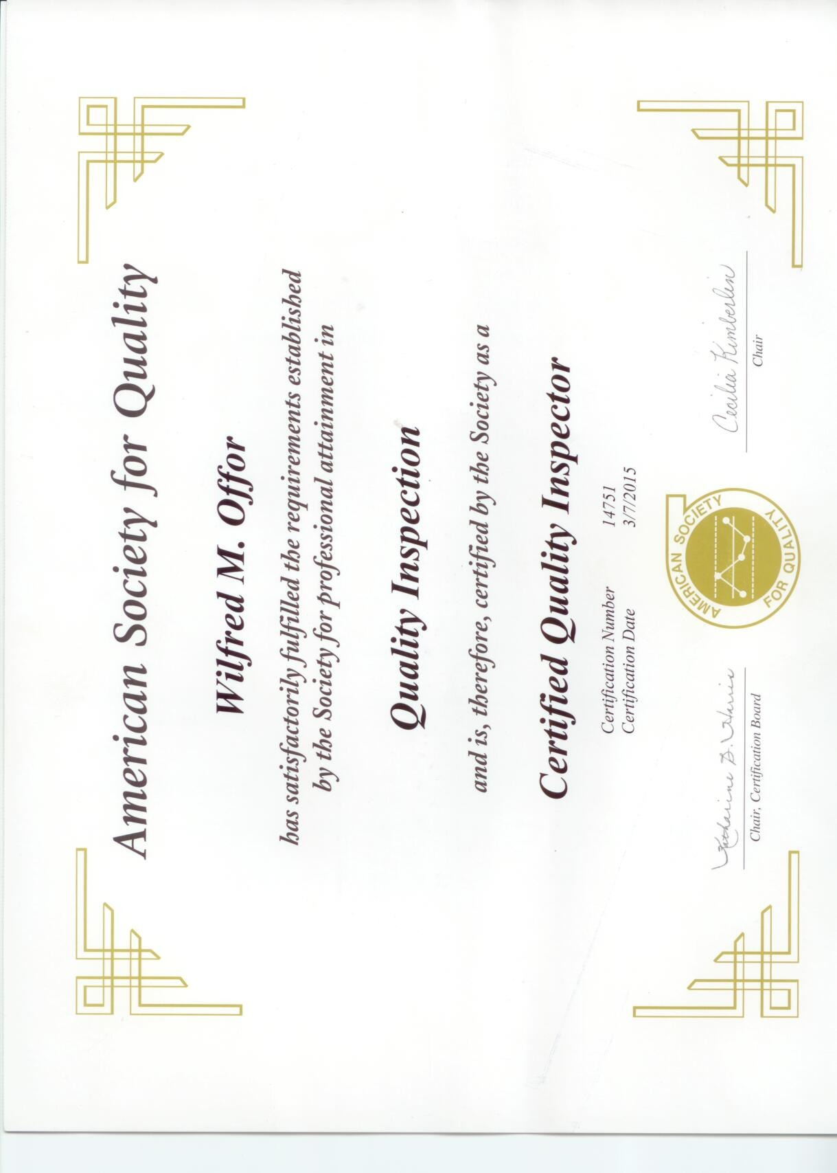 Wilfred offor bayt asq certified quality inspector certificate xflitez Choice Image