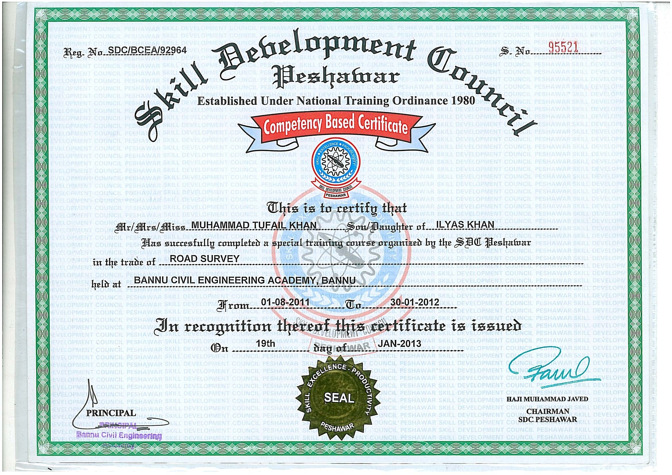Training Institute: Certificate of Surveying From S.D.C.Pakistan