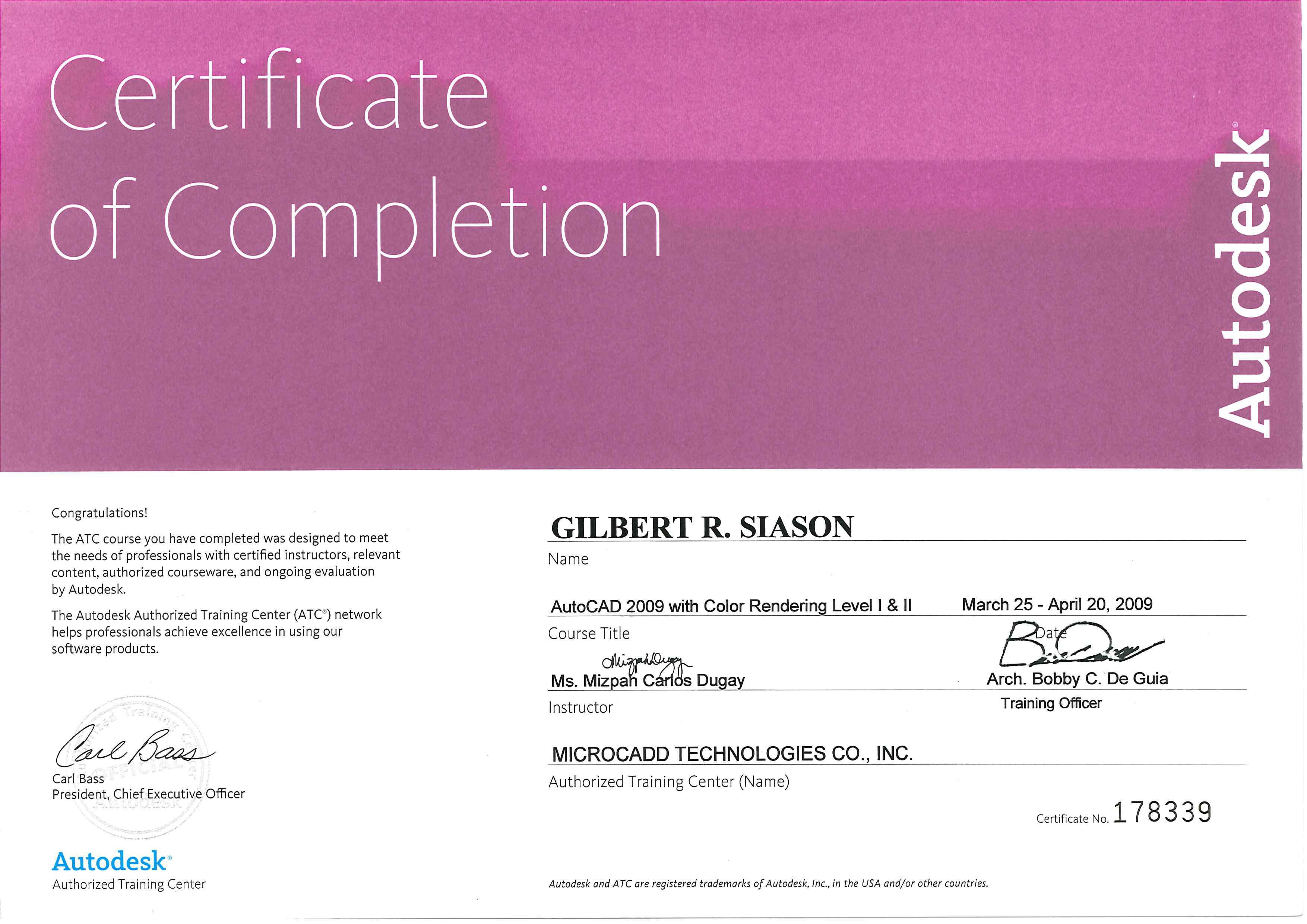 Gilbert siason bayt autocad 2009 w color rendering level i ii certificate xflitez Gallery