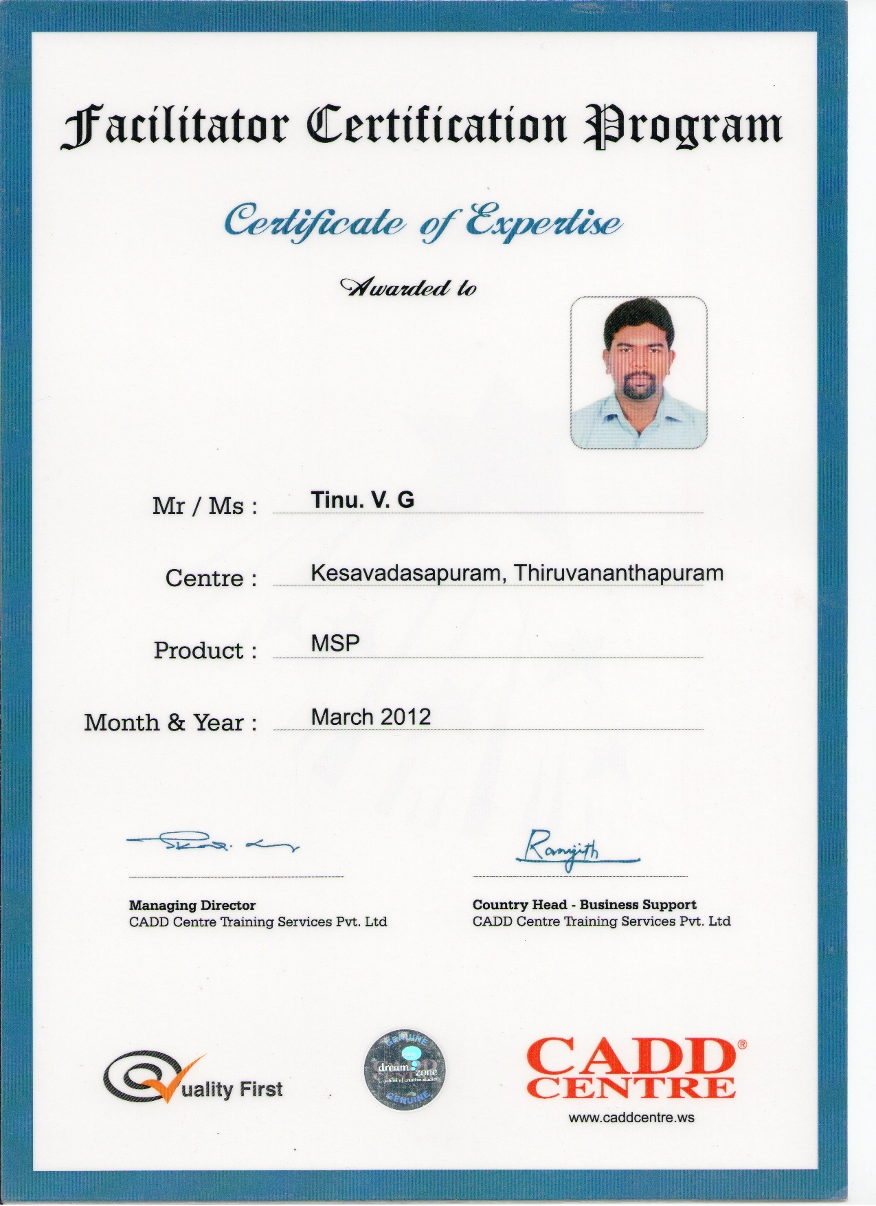 Tinu v g bayt certificate of expertise in microsoft project certificate 1betcityfo Choice Image