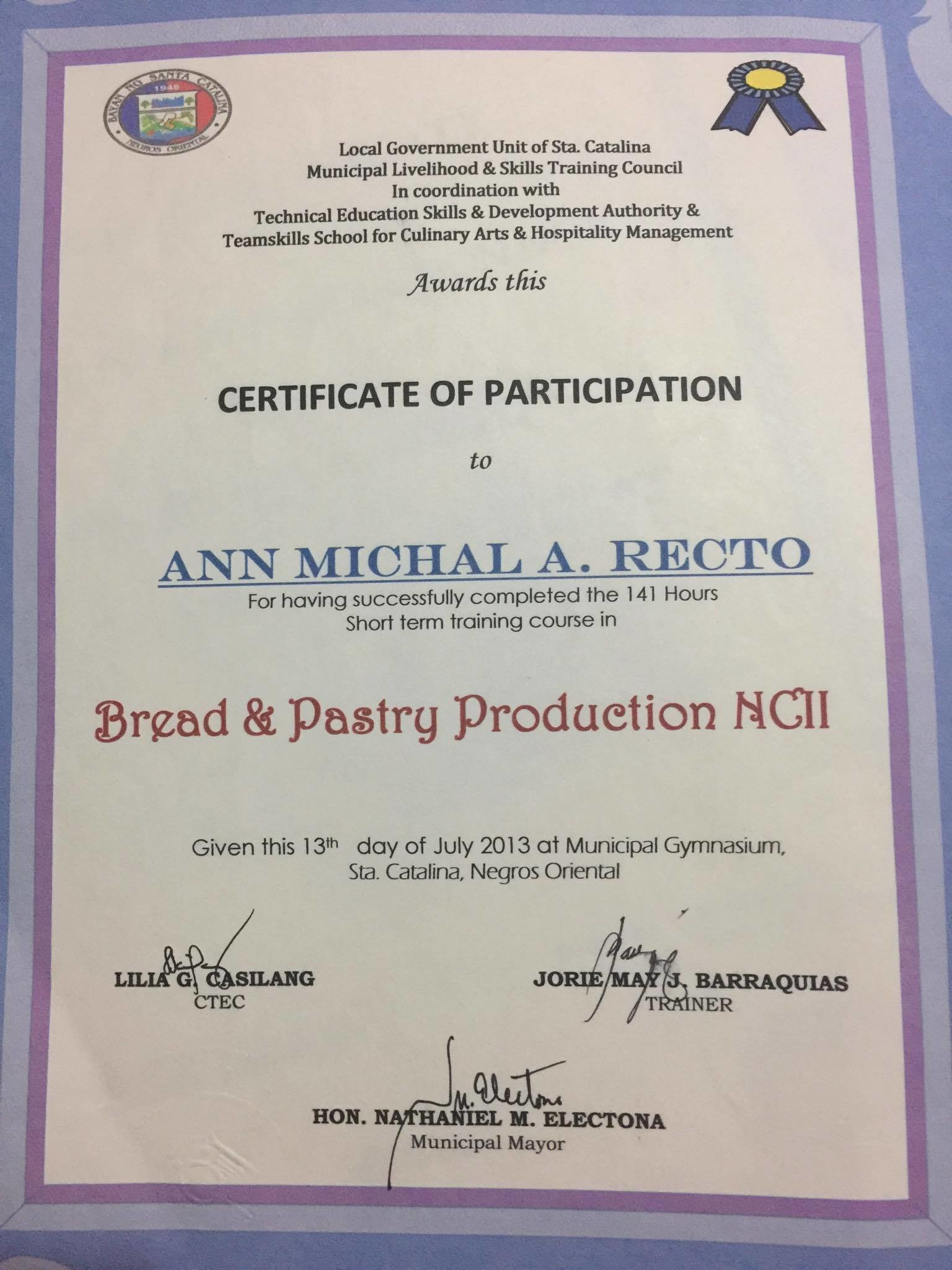 Ann michal recto bayt training institute teamskills school for culinary arts hospitality management 1betcityfo Images