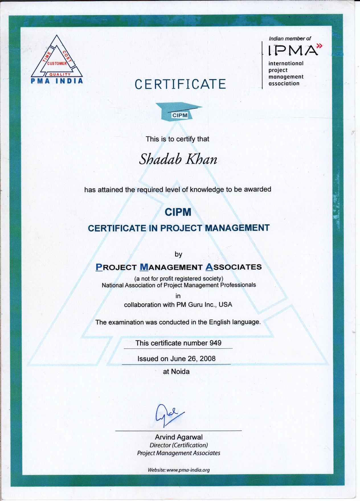 Shadab khan bayt project management certificate issued in june 2008 1betcityfo Images