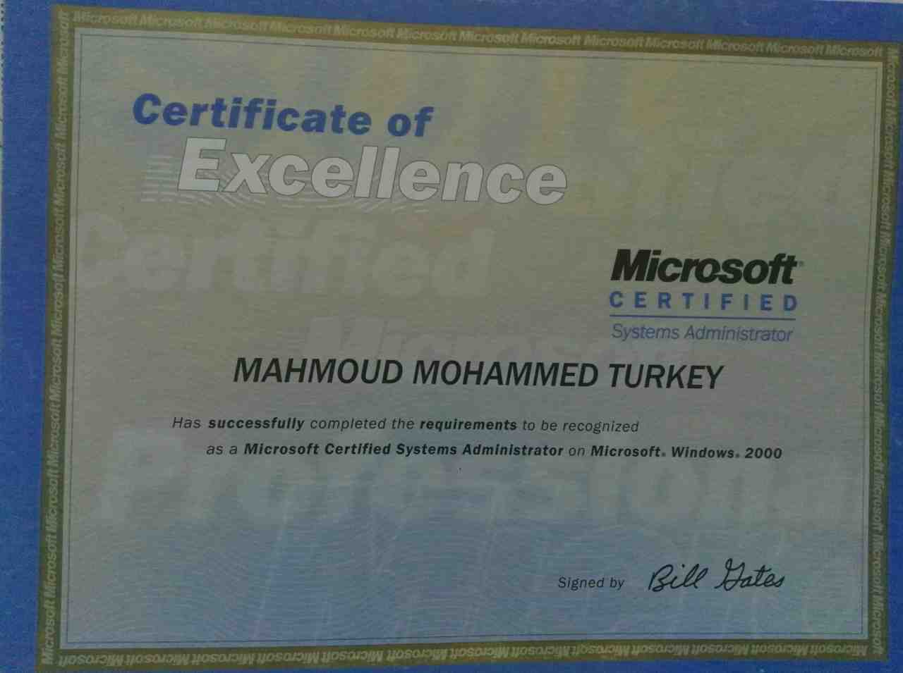 Mahmoud turki bayt international certificate on microsoft certified system administrator certificate mcsa microsoft cairo march 2004 1betcityfo Gallery
